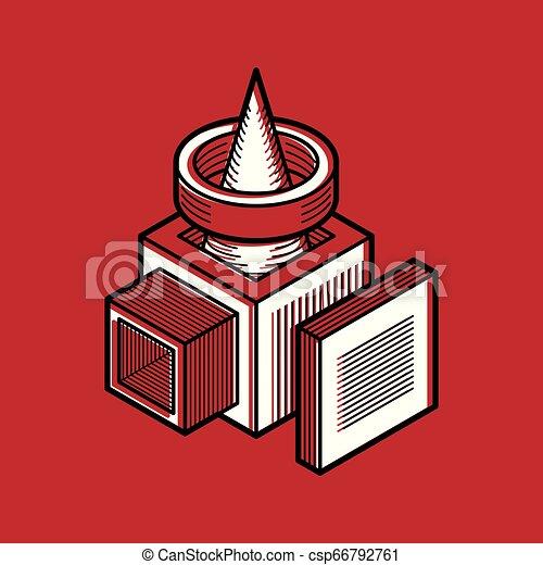 tridimensionnel, résumé, forme., trigonometric, ingénierie, vecteur, construction - csp66792761
