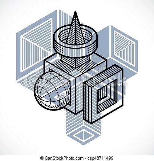 tridimensionnel, résumé, forme., trigonometric, ingénierie, vecteur, construction - csp48711499