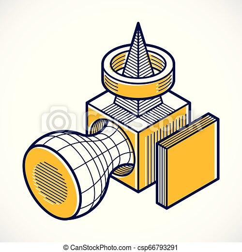 tridimensionnel, résumé, forme., trigonometric, ingénierie, vecteur, construction - csp66793291