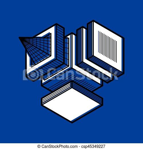 tridimensionnel, résumé, forme., trigonometric, ingénierie, vecteur, construction - csp45349227