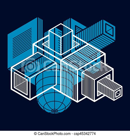 tridimensionnel, résumé, forme., trigonometric, ingénierie, vecteur, construction - csp45342774