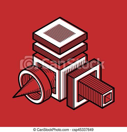 tridimensionnel, résumé, forme., trigonometric, ingénierie, vecteur, construction - csp45337649