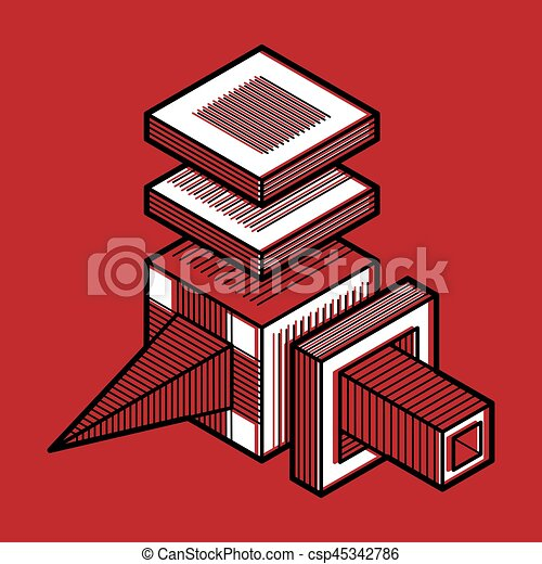 tridimensionnel, résumé, forme., trigonometric, ingénierie, vecteur, construction - csp45342786