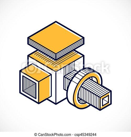 tridimensionnel, résumé, forme., trigonometric, ingénierie, vecteur, construction - csp45349244