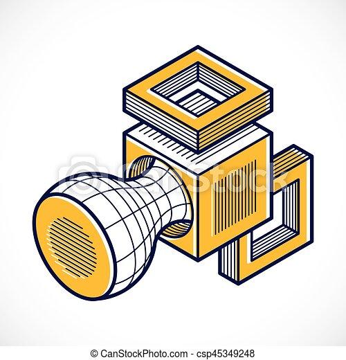 tridimensionnel, résumé, forme., trigonometric, ingénierie, vecteur, construction - csp45349248
