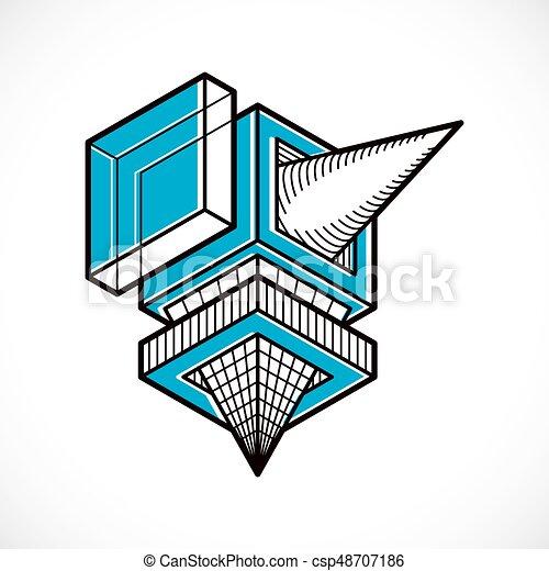 tridimensionnel, résumé, forme., trigonometric, ingénierie, vecteur, construction - csp48707186