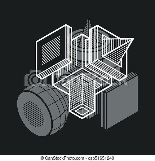 tridimensionnel, résumé, forme., trigonometric, ingénierie, vecteur, construction - csp51651240