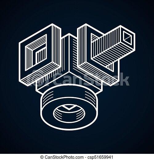 tridimensionnel, résumé, forme., trigonometric, ingénierie, vecteur, construction - csp51659941