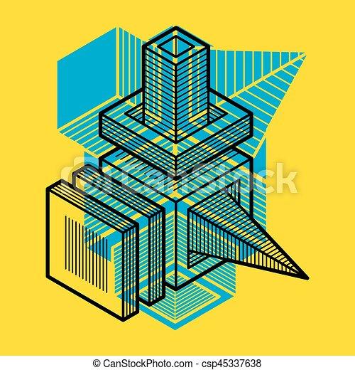tridimensionnel, résumé, forme., trigonometric, ingénierie, vecteur, construction - csp45337638