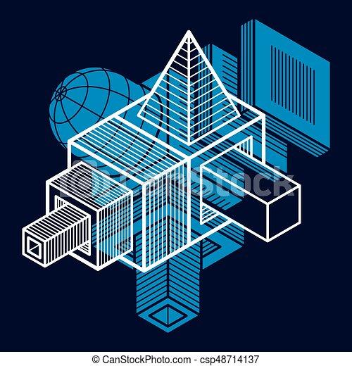 tridimensionnel, résumé, forme., trigonometric, ingénierie, vecteur, construction - csp48714137