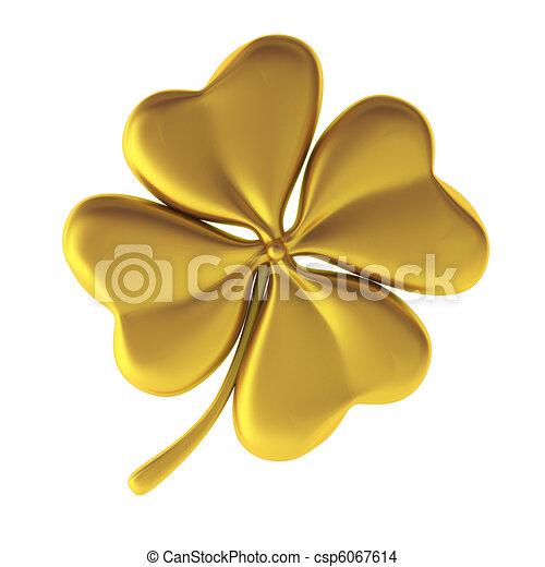 trifoglio, 3d, render, dorato - csp6067614