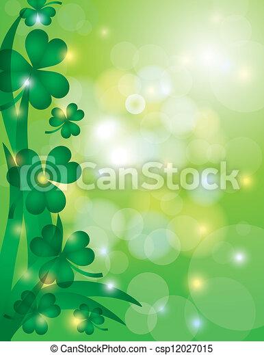 trifoglio, foglie, fondo, bokeh, illustrazione - csp12027015
