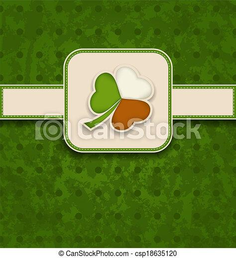 trifoglio, irlandese, vendemmia, st., -, bandiera, illustrazione, patrick's, colori, vettore, giorno, scheda - csp18635120