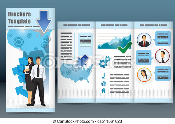 trifold business brochure template with location map information
