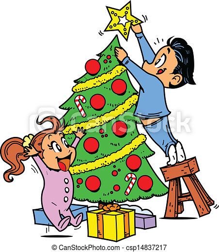 Trimming the Christmas Tree - csp14837217