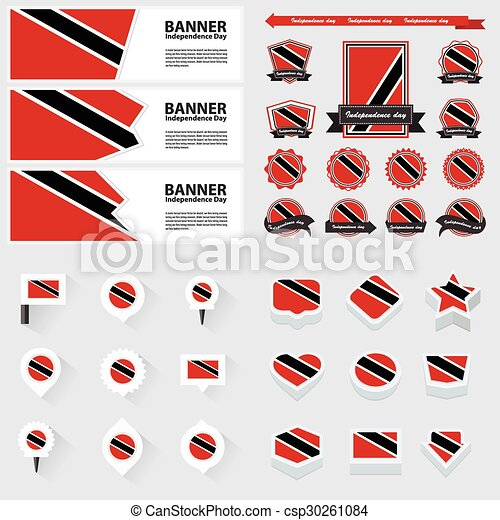 trinidad & tobago independence day, infographic, and label Set. - csp30261084