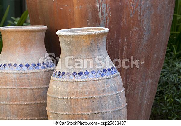 Trio Of Large Decorative Outdoor Vases Trio Of Large Decorative