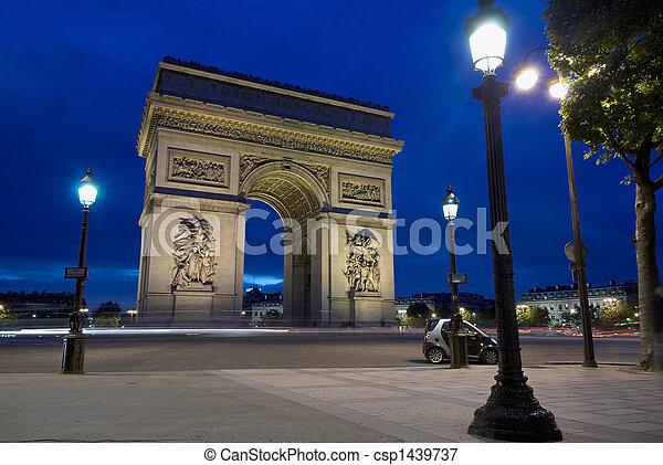 triomphe, チャールズ, de, パリ, フランス, gaulle, 弧, 場所 - csp1439737