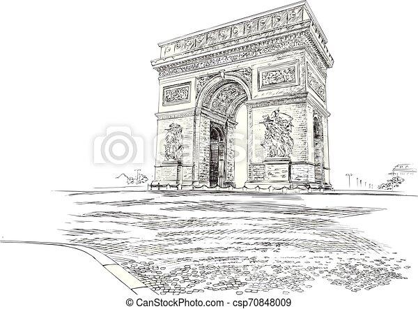 Arco de triomphe paris france, dibujo a mano. Ilustración de vectores - csp70848009