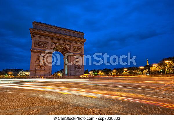 triomphe, de, paris, frança, arco, noturna - csp7038883