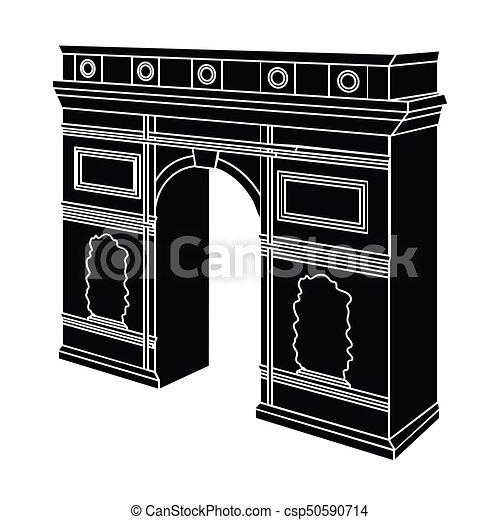 Arco del Triunfo en París. Un icono del edificio de Arch en vectores de estilo negro simboliza la web de ilustración de acciones. - csp50590714