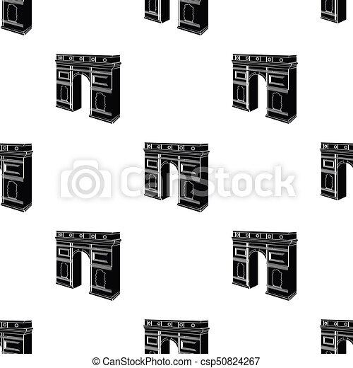Arco del Triunfo en París. Un icono del edificio de Arch en vectores de estilo negro simboliza la web de ilustración de acciones. - csp50824267
