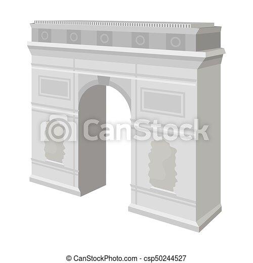 Arco del Triunfo en París. Un icono del edificio de Arch en vector de estilo monocromo simboliza la web de ilustración de acciones. - csp50244527