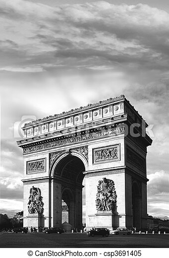 Triomphe in B&W - csp3691405