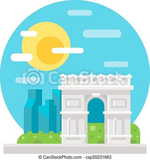 Arco de triomphe diseño plano - csp30231663