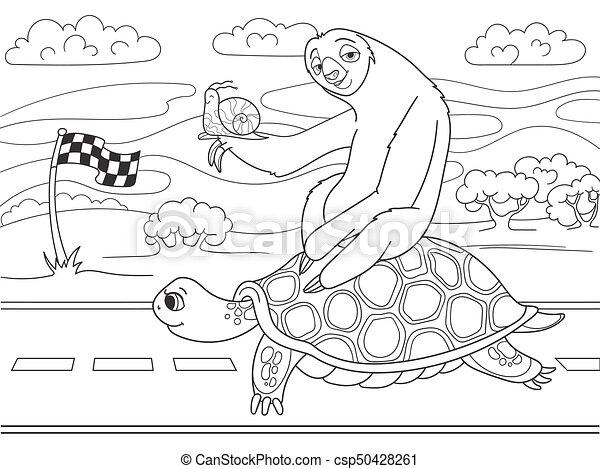 trip., ナマケモノ, speed., かたつむり, 3, 長い間, 旅行, 乗馬, went, turtle., 友人 - csp50428261
