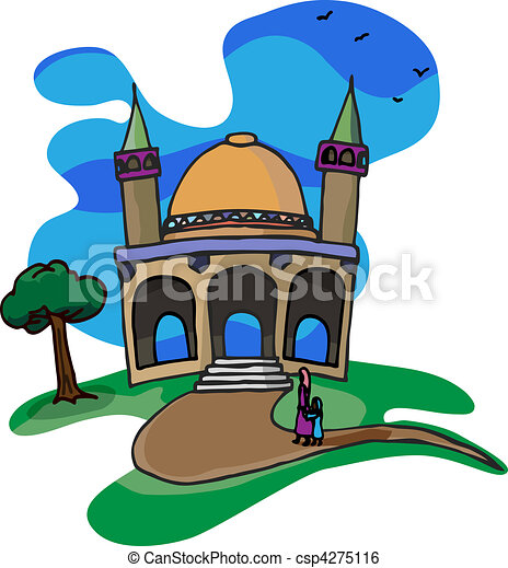 trip to a little mosque a mother and daughter walk together clip rh canstockphoto com mosque clipart design vector image free clipart mosquée