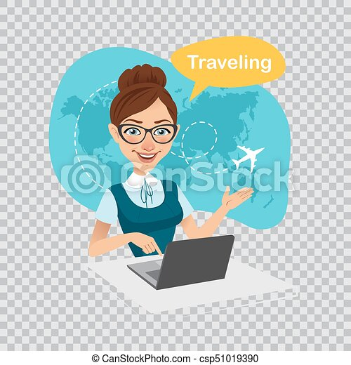 Trip to World. Travel to World. Travel agency banner. Travel agent works on laptop. Illustration on transparent background. - csp51019390