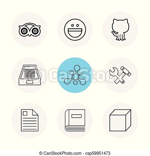 tripadvisor, smiley, github , drive , social , media , hardware , hammer ,  cube, file , eps icons set vector