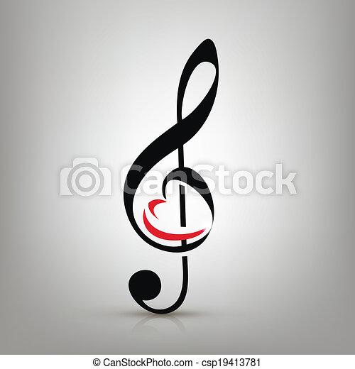 Me encanta el concepto de música, el triple clef con una ilustración de una forma de corazón - csp19413781