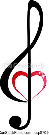 triplo, coração, clef, brilhante - csp8701484