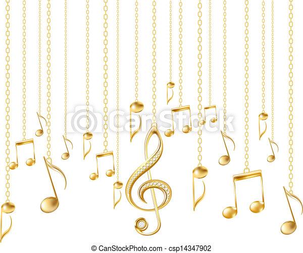 triplo, dourado, notas, clef, musical, cartão - csp14347902