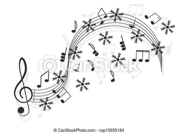 triplo, notas, snowflake, music., clef, seu, design. - csp15935184