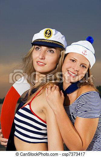 tripulação, navio, excitado - csp7373417