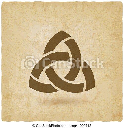 triquetra symbol old background - csp41099713