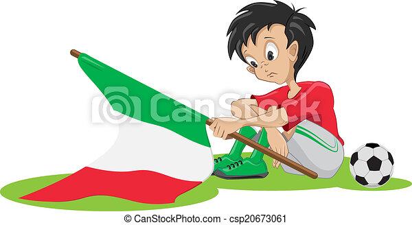 triste, football, ventilateur, italien - csp20673061