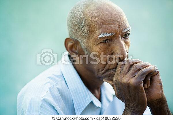 triste, portrait, personne âgée homme, chauve - csp10032536