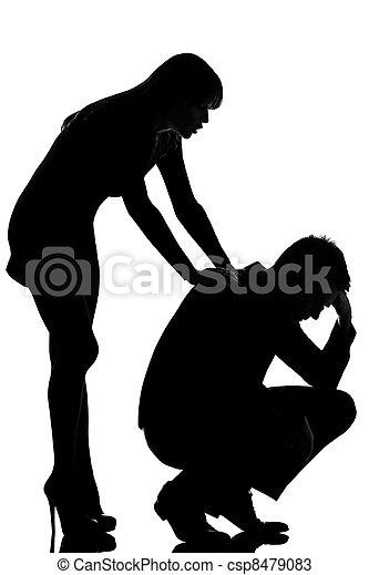 triste, preoccupare, donna uomo, coppia, uno, consolare - csp8479083