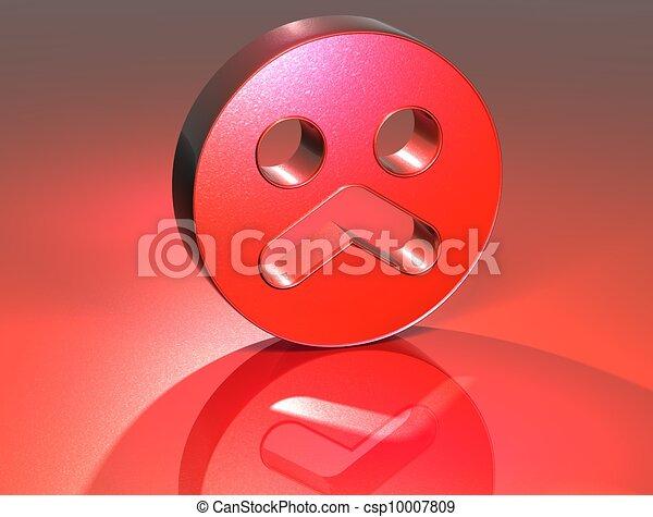 Triste Señal 3d Cara Roja Encima Señal Cara Plano De Fondo