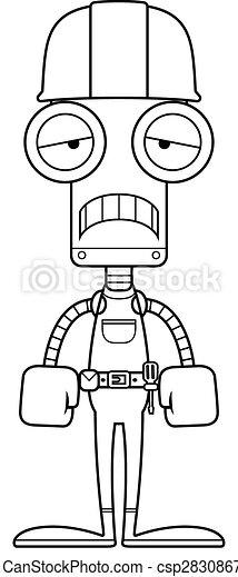 Un triste robot trabajador de la construcción - csp28308670