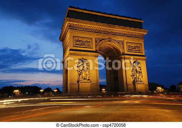 Triumph Arch at night - csp4720058