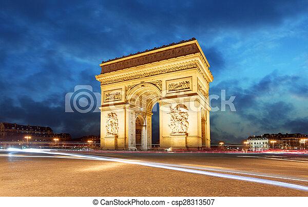triunfo, de, arco, paris, frança - csp28313507