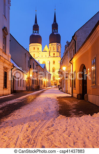 Trnava church, Slovakia - Saint Nicolas at winter - csp41437883