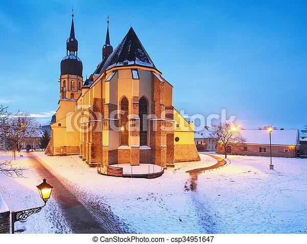 Trnava church, Slovakia - Saint Nicolas at winter - csp34951647