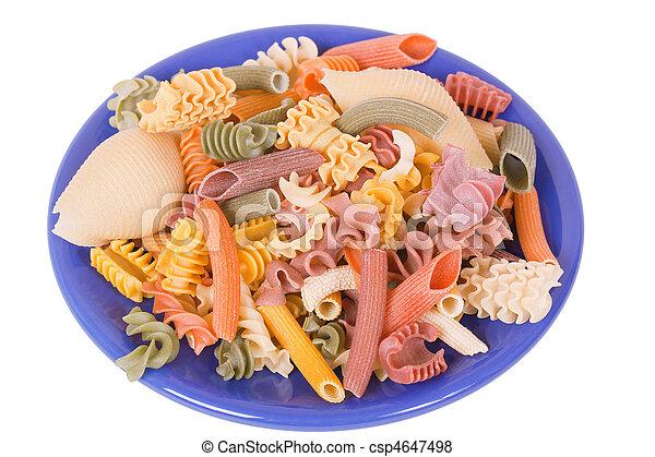 Trocken Blauer Teller Farbe Italienisches Nudelgerichte Trocken Blauer Teller Farbe Aus Italienisches Canstock