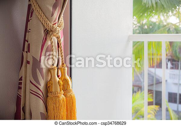 troddel, terrasse, draußen, luxus, vorhang, ansicht